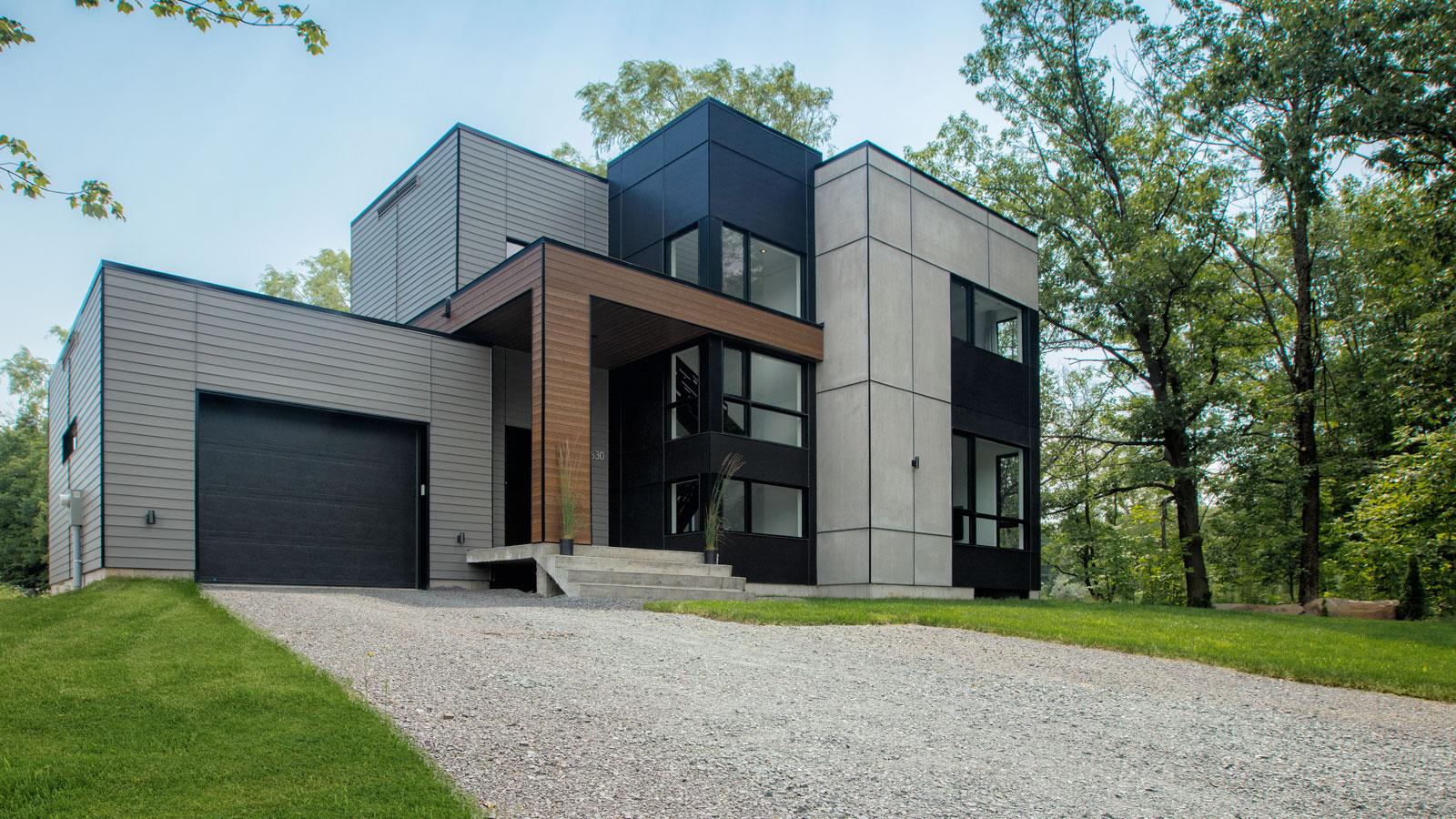 Le projet zone c style unique qu bec terrains de 7000 28 000 pi2 tous les services for Photos de maisons contemporaines